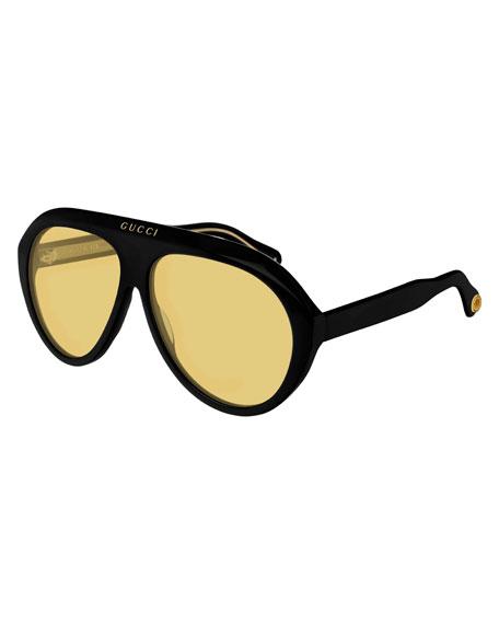 Gucci Men's Curved Nylon Shield Sunglasses