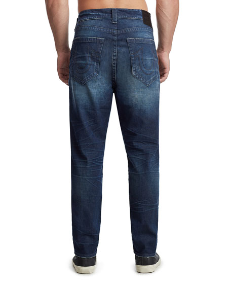 True Religion Men's Marco Tapered Denim Jeans, Dark Axle