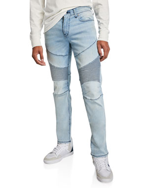 654f47c2 True Religion Men's Rocco Moto Light-Wash Jeans