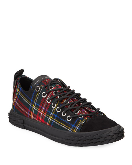 Giuseppe Zanotti Men's Blabber Low-Top Plaid Sneakers