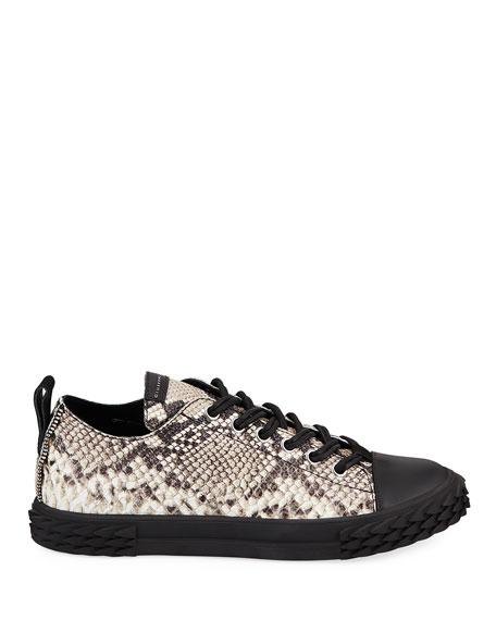 Giuseppe Zanotti Men's Blabber Snake-Embossed Low-Top Sneakers