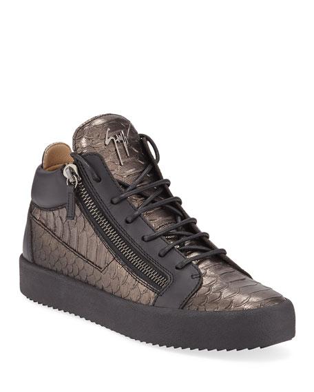 Giuseppe Zanotti Men's London Metallic Mid-Top Zip Sneakers