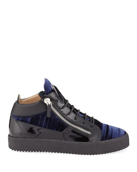 Giuseppe Zanotti Men's Velvet Mid-Top Zip Sneakers