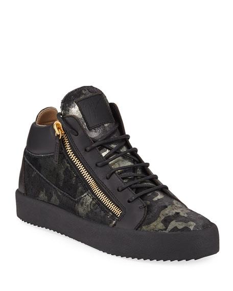 Giuseppe Zanotti Men's Camo Double-Zip Mid-Top Sneakers