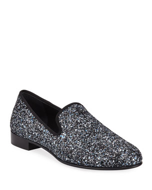 c9e887b9df2a8 Giuseppe Zanotti Men's Kevin Glittered Slip-On Evening Shoes