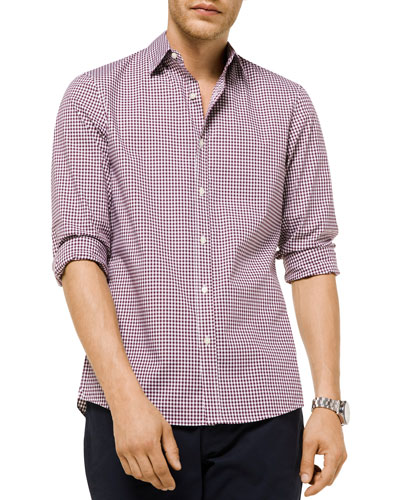 Men's Striped Plaid Trim-Fit Sport Shirt