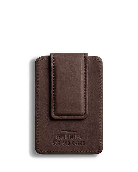 Shinola Men's Leather Card Case with Magnetic Money Clip