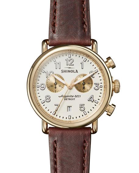 Shinola Men's 41mm Runwell Chronograph Watch, Brown/White