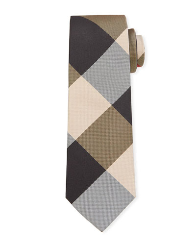 Men's Manston Modern-Cut Check Silk Tie