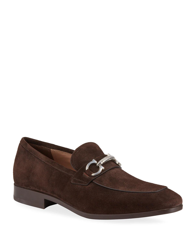 Men's Benford Suede Bit Loafers, Brown by Salvatore Ferragamo