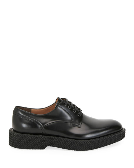 Salvatore Ferragamo Men's Chunky Textured-Sole Leather Derby Shoes