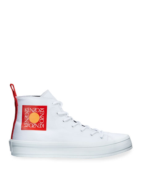 Kenzo Men's Square Logo High-Top Canvas Sneakers