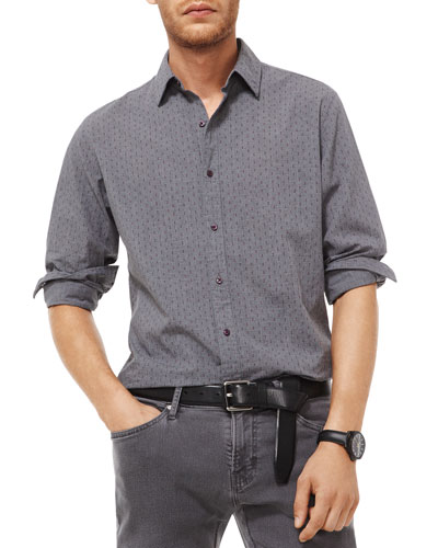 Men's Dice-Print Slim-Fit Sport Shirt
