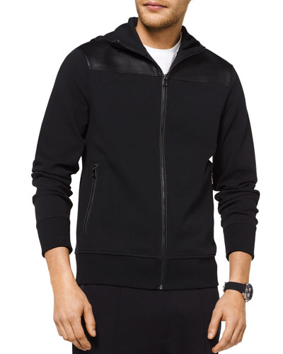 Men's Leather-Binding Zip-Front Hooded Jacket