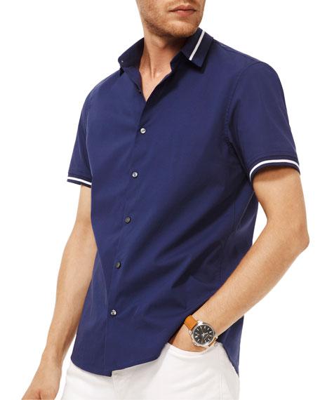 Michael Kors Men's Novelty-Collar Short-Sleeve Sport Shirt