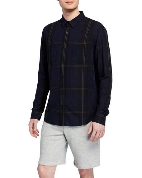 Vince Men's Linen-Blend Plaid Sport Shirt