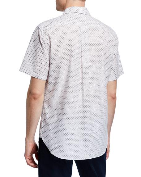 Vince Men's Micro-Print Button-Down Short-Sleeve Shirt
