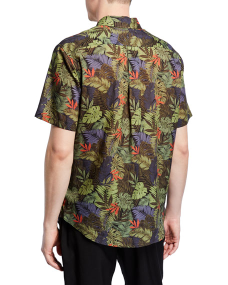 Image 2 of 2: Vince Men's California Print Short-Sleeve Sport Shirt