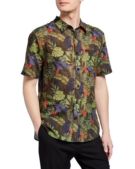 Image 1 of 2: Vince Men's California Print Short-Sleeve Sport Shirt
