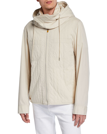 Helmut Lang Men's Quilted Cotton/Nylon Zip-Front Hooded Jacket
