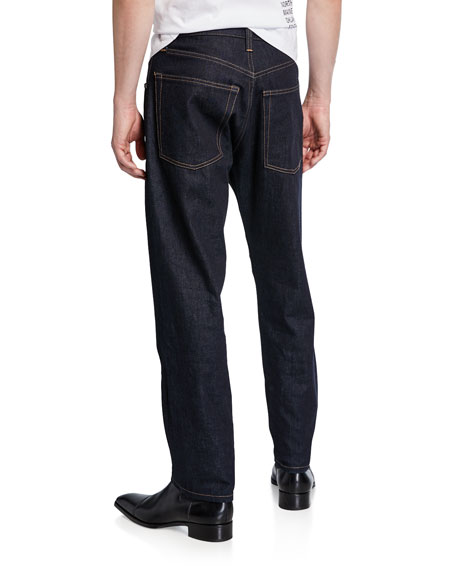 Image 2 of 3: Helmut Lang Men's Accelerated Raw Masc High-Rise Straight-Leg Jeans