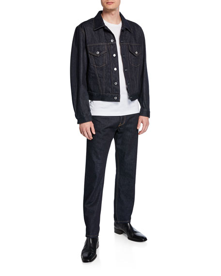 Image 3 of 3: Helmut Lang Men's Accelerated Raw Masc High-Rise Straight-Leg Jeans