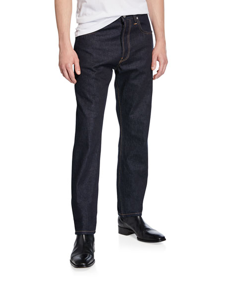Image 1 of 3: Helmut Lang Men's Accelerated Raw Masc High-Rise Straight-Leg Jeans