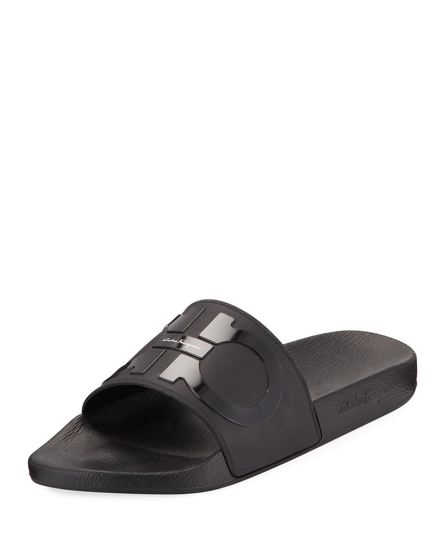 6706c825f Salvatore Ferragamo Men's Groove 2 Rubber Slide Sandals | Neiman Marcus