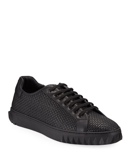 Salvatore Ferragamo Men's Cube 17 Low-Top Woven Leather Sneakers