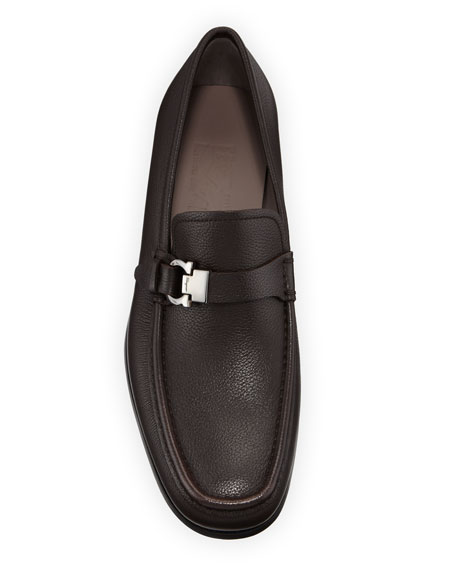 Image 2 of 3: Salvatore Ferragamo Men's Adam Gancio Leather Loafers