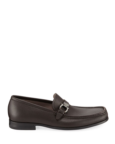 Image 3 of 3: Salvatore Ferragamo Men's Adam Gancio Leather Loafers