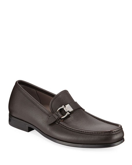 Image 1 of 3: Salvatore Ferragamo Men's Adam Gancio Leather Loafers