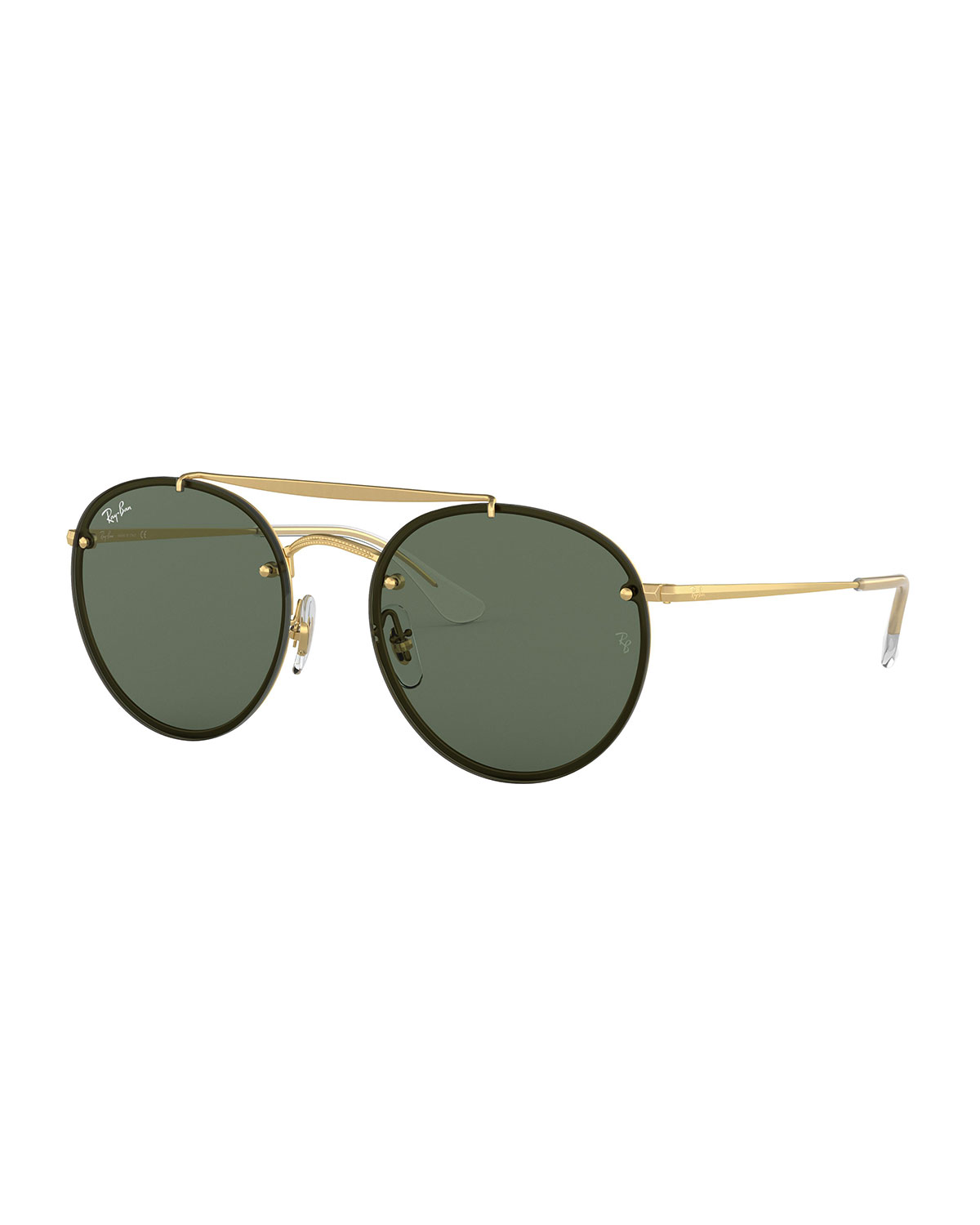 0c97411bfb06c Ray-Ban Men s Blaze Round Lens-Over-Frame Metal Sunglasses