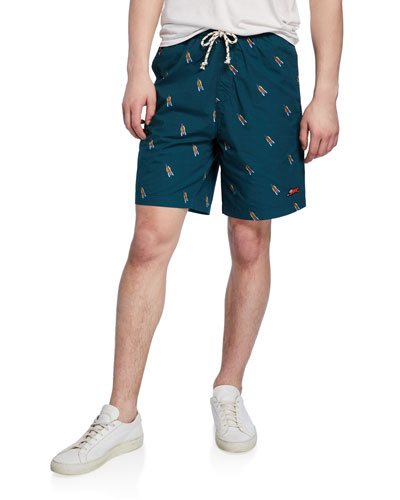 Men's Brich Rocketship-Print Drawstring-Waist Shorts