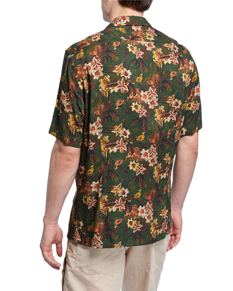 Image 2 of 2: Neiman Marcus Men's Green Floral Short-Sleeve Sport Shirt