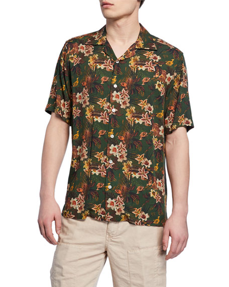 Image 1 of 2: Neiman Marcus Men's Green Floral Short-Sleeve Sport Shirt