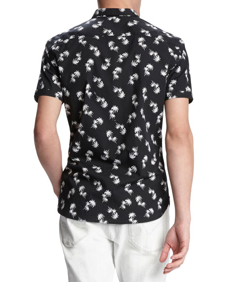 John Varvatos Star USA Men's Jasper Palm Toss Printed Short-Sleeve Sport Shirt