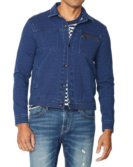 John Varvatos Men's Redrock Acid-wash Stretch-cotton Sweatshirt Jacket In Indigo