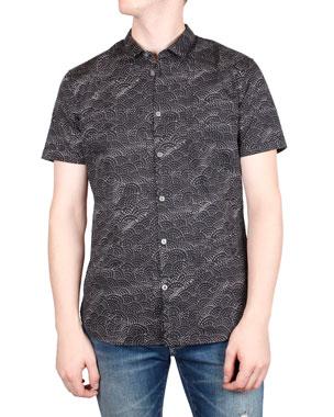 610fcf8cccd2 John Varvatos Star USA Men's Jasper Sashiko-Print Short-Sleeve Sport Shirt