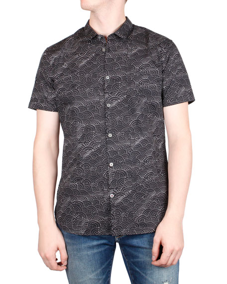 John Varvatos Star USA Men's Jasper Sashiko-Print Short-Sleeve Sport Shirt