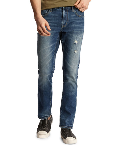 John Varvatos Star USA Men's Bowery Roadie Wash Slim Distressed Stretch Denim Jeans