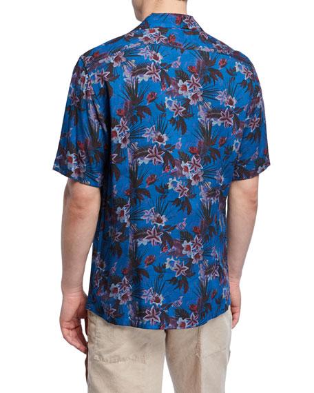 Neiman Marcus Men's Blue Floral-Print Short-Sleeve Sport Shirt