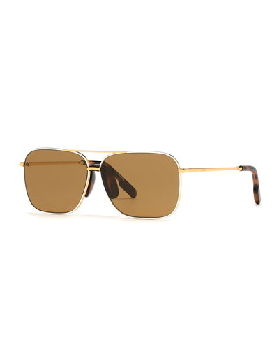 Men's Metal Pilot Sunglasses w/ Injected Plastic Trim