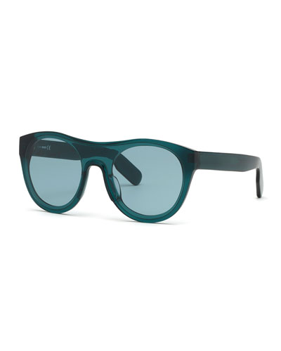Men's Round Acetate Sunglasses  Blue