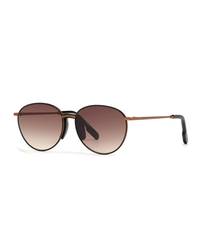 Men's Bronzed Metal Round Sunglasses