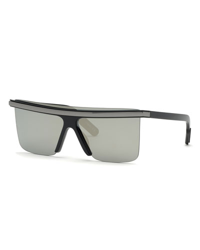 Men's Flat-Top Sunglasses w/ Metal Trim