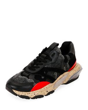 a690bd366fb32 Valentino Garavani Men's Mixed-Media Bounce Trainer Sneaker
