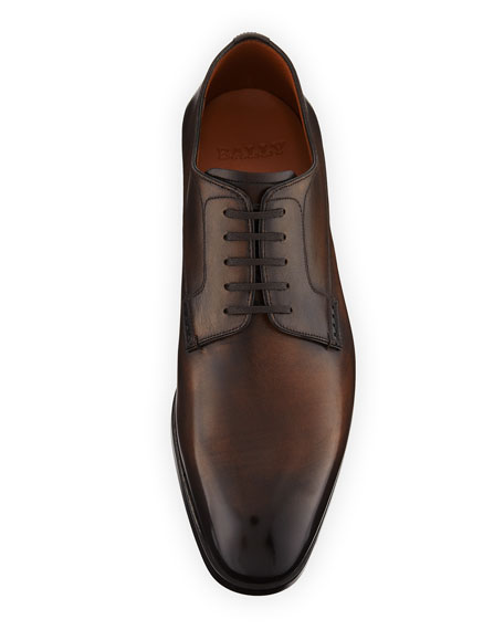Bally Lantel Burnished Leather Lace-Up Derby Shoe