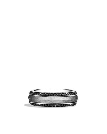 David Yurman Knife-Edge Band Ring with Meteorite and Black Diamonds
