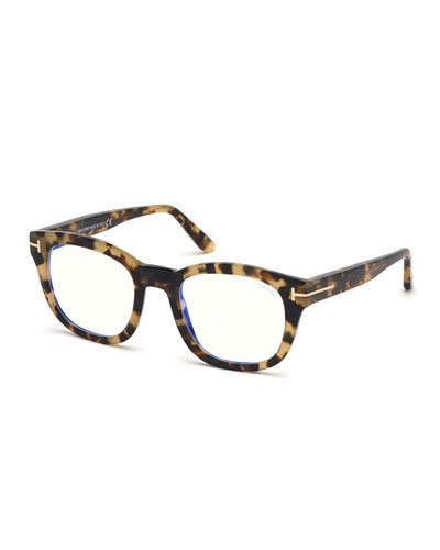Men's Square Tortoiseshell Acetate Optical Glasses